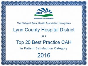 Lynn County Hospital District named among Top 20 Best Practice CAH in Patient Satisfaction for 2016 by the National Rural Health Association